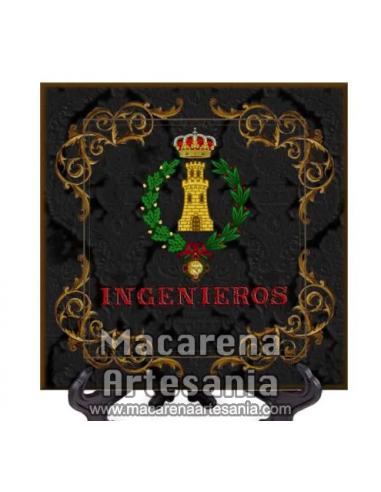 Azulejo cuadrado con el emblema de Ingenieros con fondo negro. Solo disponible en nuestra tienda online.