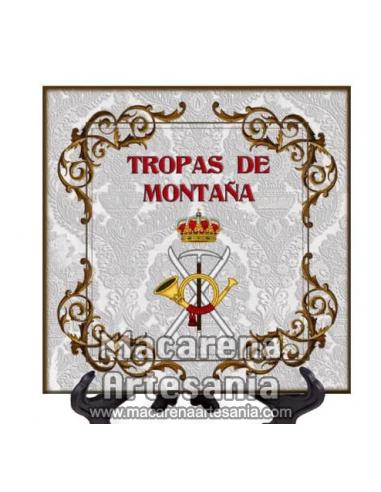 Azulejo cuadrado con el emblema de tropas de montaña. Solo en venta en nuestra tienda online