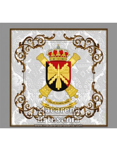Azulejo cuadrado con el escudo del Mando de Artillería Antiaérea. Solo disponible en nuestra tienda online.