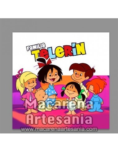 Azulejo cuadrado de estilo vintage con la Familia Telerín, solo en venta en nuestra tienda online.