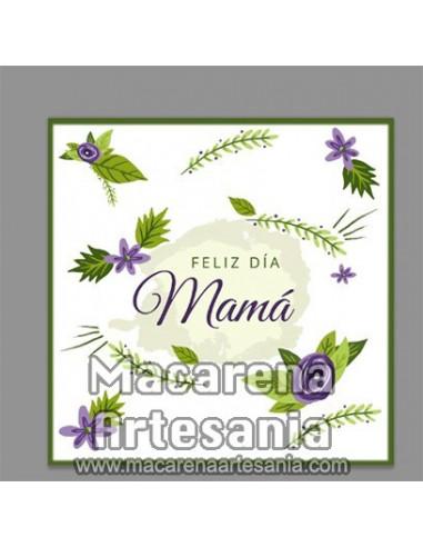 Azulejo cuadrado con el texto Feliz día Mama. Solo en venta en nuestra tienda online. Somos Fabricantes.
