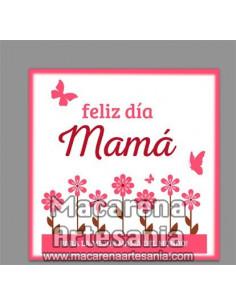 Azulejo cuadrado con el texto Feliz día Mama - Para la mejor mama del mundo. olo en venta en nuestra tienda online.