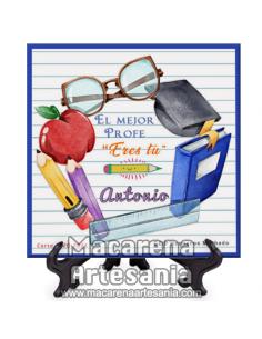 """Azulejo cuadrado con el texto """"El mejor profe eres tú"""" personalizado. Solo en venta en nuestra tienda online."""
