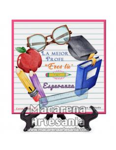 """Azulejo cuadrado con el texto """"La mejor profe eres tú"""" personalizado. Solo en venta en nuestra tienda online."""