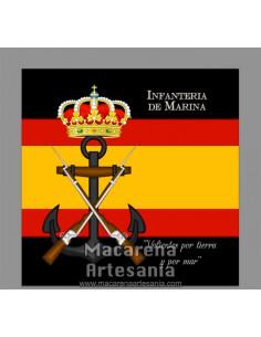 Azulejo cuadrado con el emblema de la Infanteria de Marina y bandera de España. Solo disponible en nuestra tienda online.