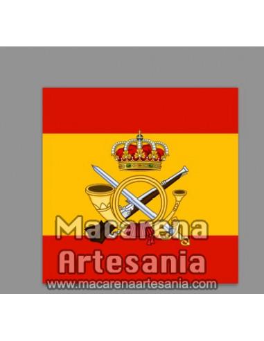 Azulejo cuadrado con el emblema de la Infanteria Española y bandera. Solo disponible en nuestra tienda online.
