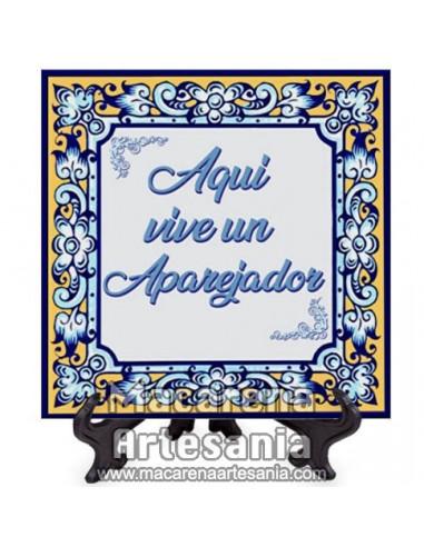 """Azulejo ideal para regalar a un Aparejador con el texto """"Aqui vive un Aparejador"""" en venta en nuestra tienda."""