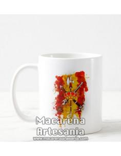 Taza de cerámica con Emblema de la Legión y bandera de España. Solo en venta en nuestra tienda online