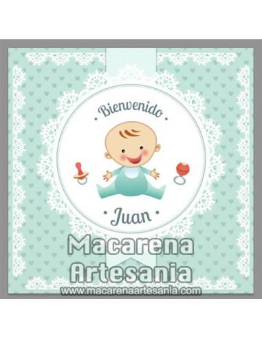 Azulejo cuadrado personalizado para recuerdo de nacimiento de un bebe. Solo en venta en nuetra tienda de regalos