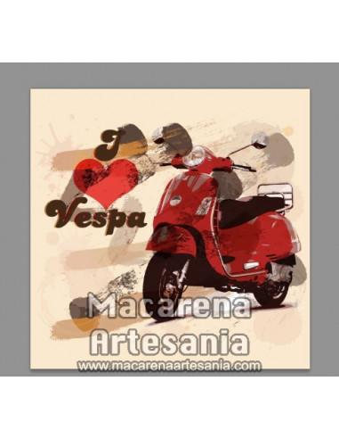 Azulejo cuadrado estilo vintage Yo Vespa, en venta en nuestra tienda online.