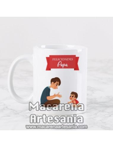 Taza ideal para regalo del padre de cerámica con el texto Felicidades Papa. Solo en venta en nuestra tienda online