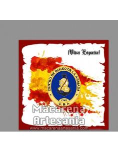 Azulejo cuadrado con emblema del Centro de Buceo de la Armada y Viva España. Solo disponible en nuestra tienda online.