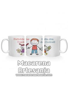 """Taza ideal para regalo del padre de cerámica con el texto """"Felicidades Papa y feliz día del padre"""" en venta en nuestra tienda"""