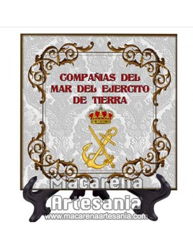 Azulejo cuadrado con el escudo de las Compañias del mar del Ejercito de tierra. Solo disponible en nuestra tienda online.