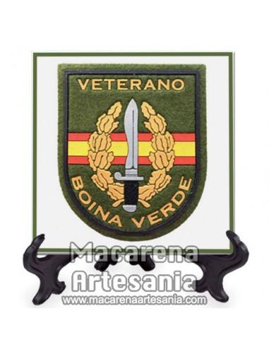 Azulejo cuadrado con el lema Veterano Boina verde. Solo en venta en nuestra tienda online