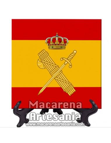 Azulejo cuadrado con el emblema de la Guardia Civil y bandera Española . Solo disponible en nuestra tienda online.