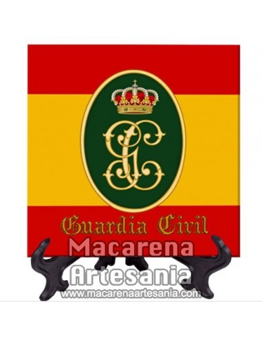 Azulejo cuadrado con el escudo de la Guardia Civil y bandera Española . Solo disponible en nuestra tienda online.