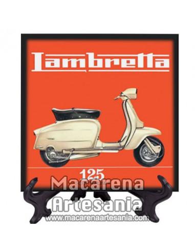 Azulejo cuadrado estilo vintage con Lambretta 125, en venta en nuestra tienda online.