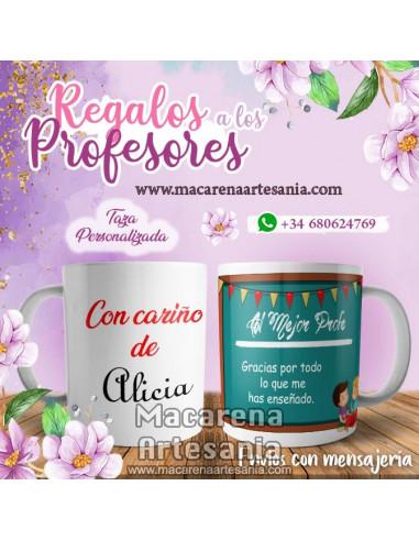 Taza de cerámica personalizada Al mejor profe. Tazas para regalar al profesor.