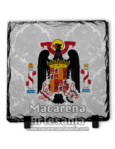 Pizarra cuadrada con escudo de España durante el régimen franquista  solo en venta en nuestra tienda online.