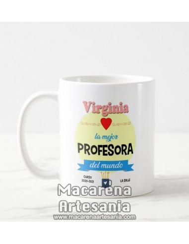 Taza de cerámica personalizada con el nombre y la frase la mejor profesora del mundo. Tazas para regalar al profesor.