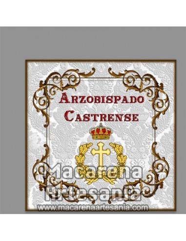 Azulejo cuadrado con emblema del Arzobispado Castrense. Solo en venta en nuestra tienda online