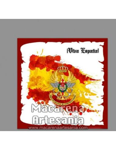 Azulejo cuadrado con emblema del Servicio Militar de Construcciones y Viva España. Solo en venta en nuestra tienda online