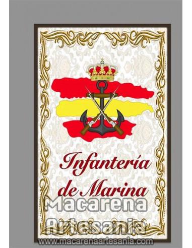 Azulejo rectangular con emblema de la Infantería de Marina y bandera .En venta solo en nuestra tienda online.