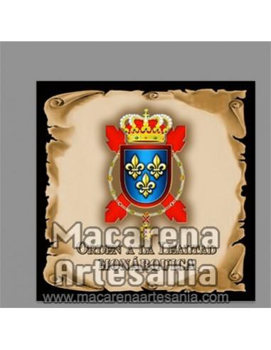 Azulejo con emblema de la Orden de la Lealtad Monárquica, modelo pergamino. Solo disponible en nuestra tienda online.